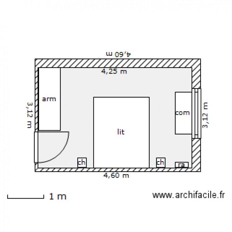 Plan chambre parentale avec salle de bain amnagement et for Plan suite parentale 12m2