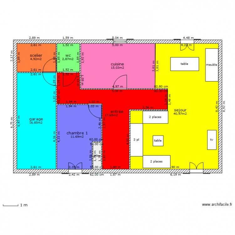 maison 14 metre de facade plan 8 pi ces 111 m2 dessin par psg77. Black Bedroom Furniture Sets. Home Design Ideas