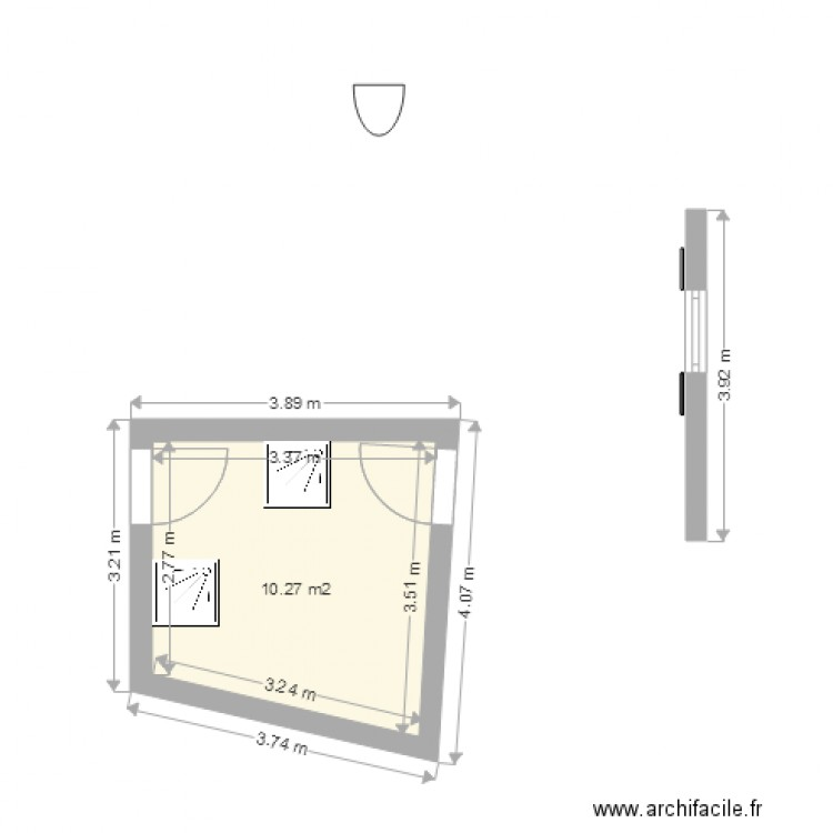 Chambre plan 1 pi ce 10 m2 dessin par cmc concept for Chambre one piece