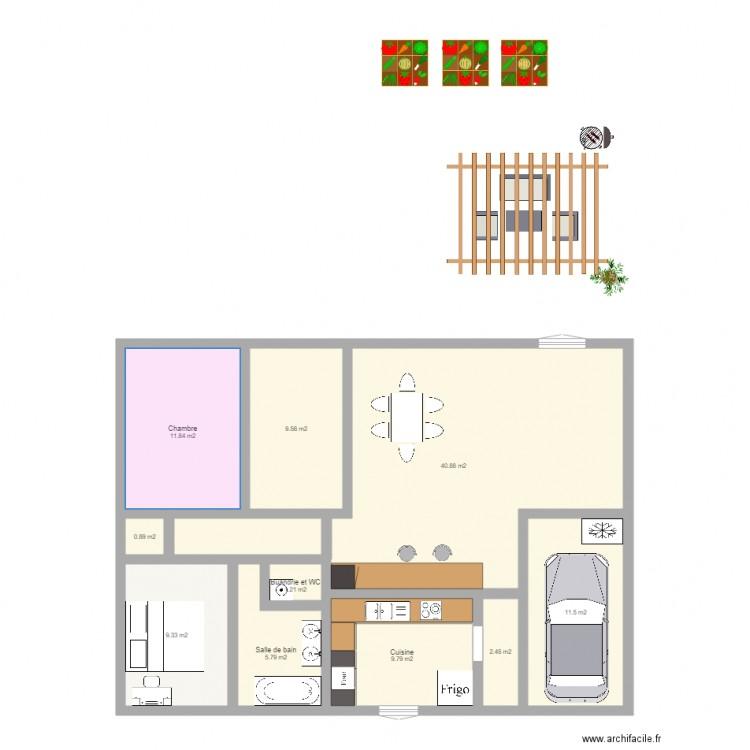 avec la cuisine plan 10 pi ces 103 m2 dessin par marion romain. Black Bedroom Furniture Sets. Home Design Ideas
