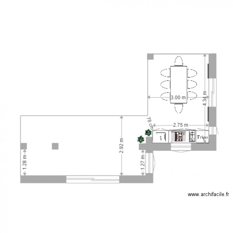 Implantation cuisine t plan dessin par panagia for Plan implantation cuisine