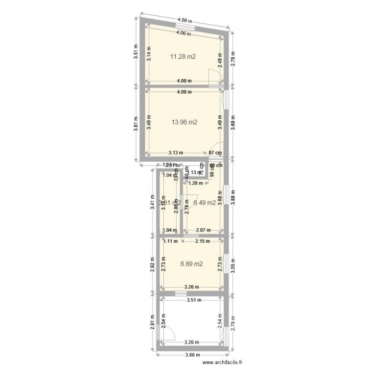 Plan local malte plan 5 pi ces 44 m2 dessin par 2clery for Plan de malte