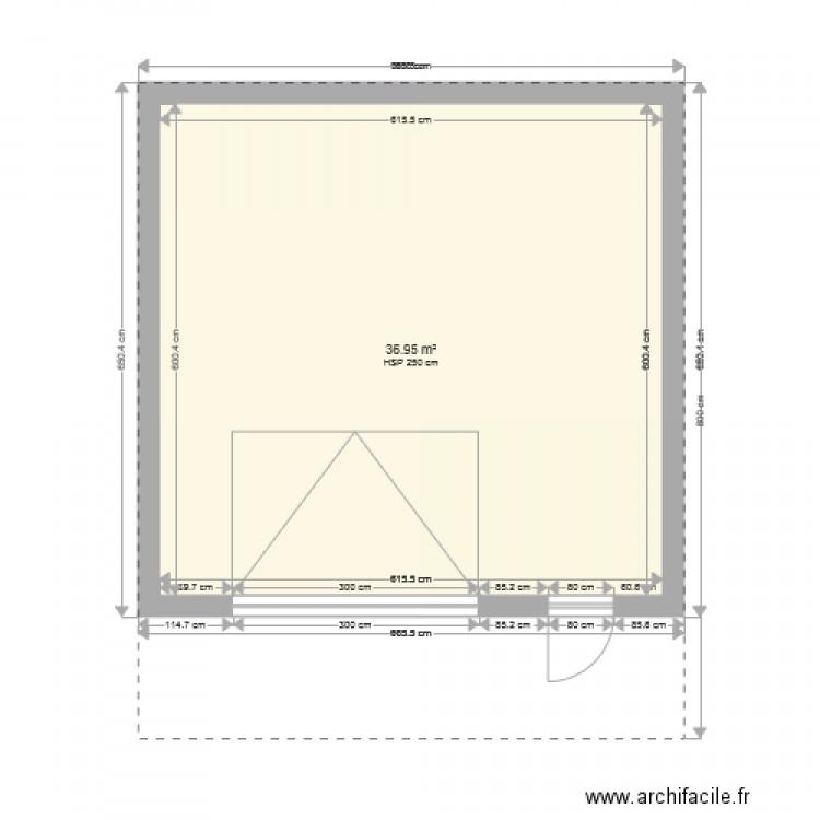 Garage 40m2 au sol plan 1 pi ce 37 m2 dessin par aureliekev for Garage 40m2