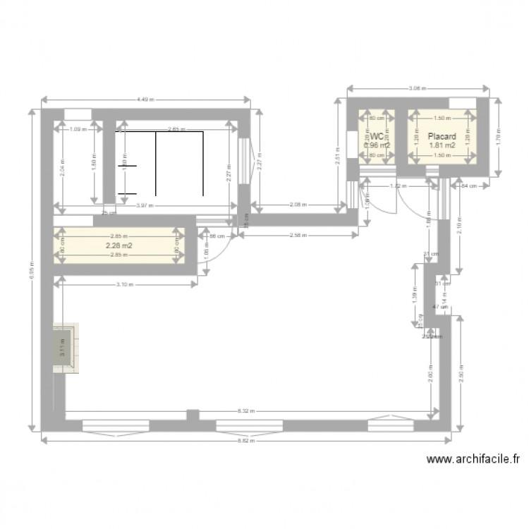 B9 projet chambre dans bureau plan 3 pi ces 5 m2 dessin for M2 par personne dans un bureau