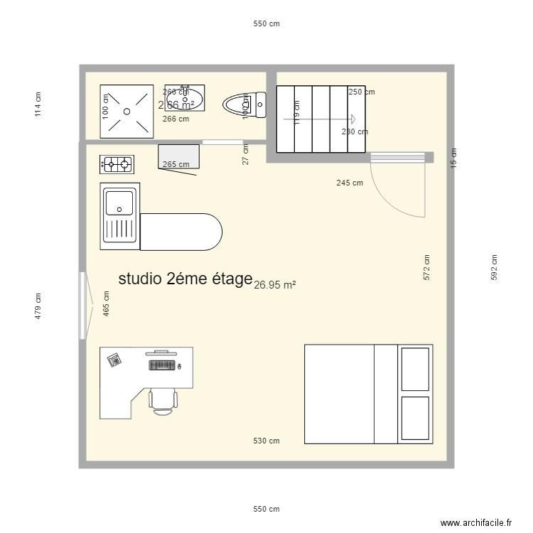 studio 2 me tage plan 1 pi ce 25 m2 dessin par montbernage. Black Bedroom Furniture Sets. Home Design Ideas