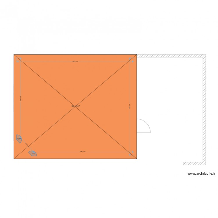 Garage plan 1 pi ce 60 m2 dessin par yann lulu for Taille d un garage