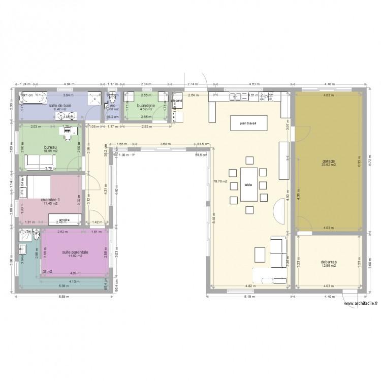 Maison en u piscine plan 10 pi ces 181 m2 dessin par for Modele maison en u ouvert