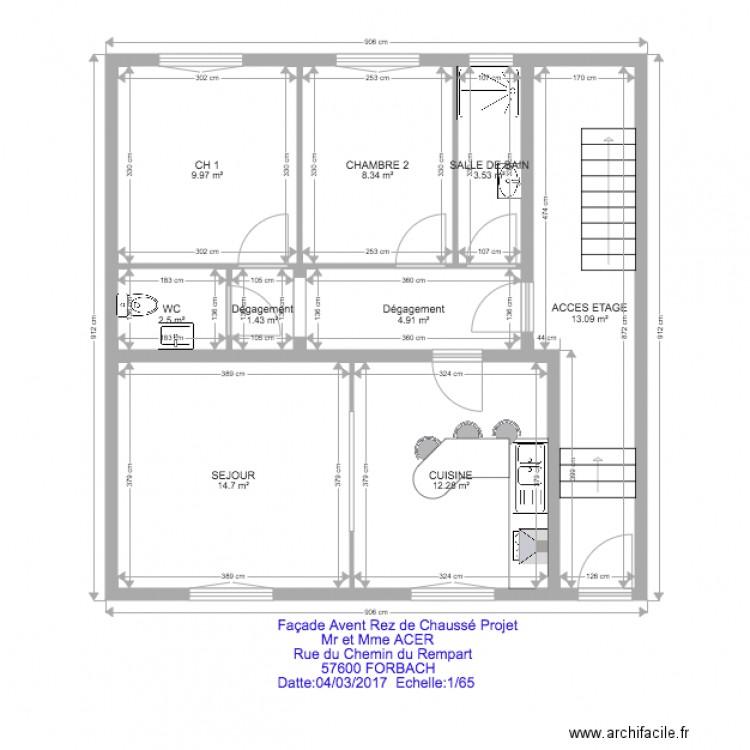 hass rez de chausse projet 2 plan 9 pi ces 71 m2 dessin par guida12345. Black Bedroom Furniture Sets. Home Design Ideas