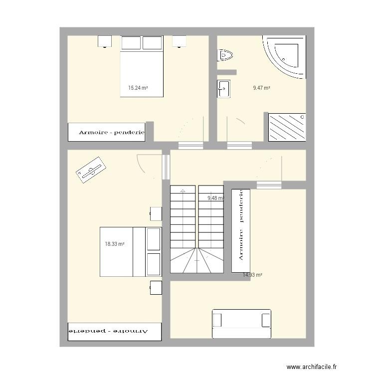Plan Maison 1 Etage Plan 5 Pieces 67 M2 Dessine Par Lucie1583