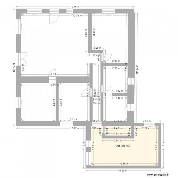 Plan maison artigues agrandissement plan 1 pi ce 28 m2 for Agrandissement maison 28