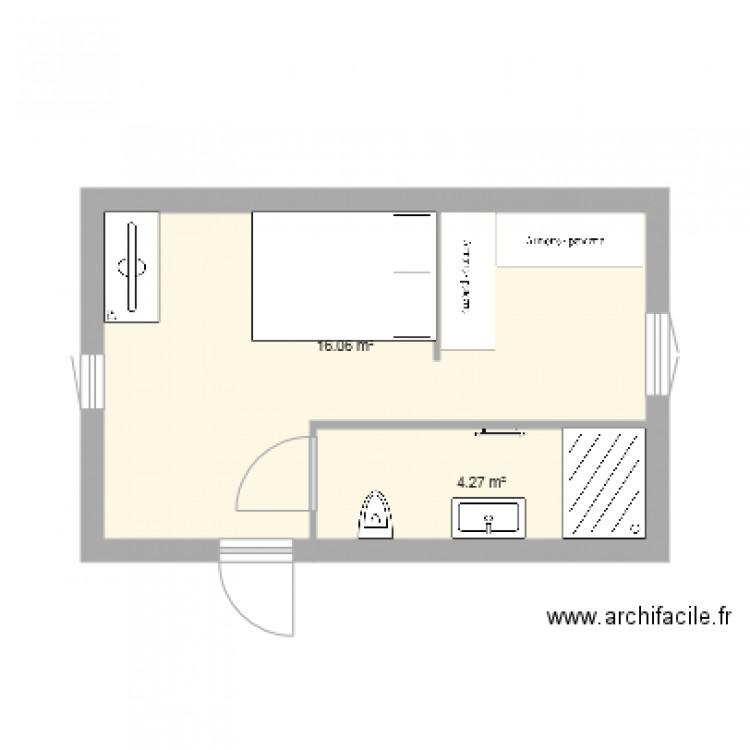 chambre parentale 1 plan 2 pi ces 20 m2 dessin par mehdibk1. Black Bedroom Furniture Sets. Home Design Ideas