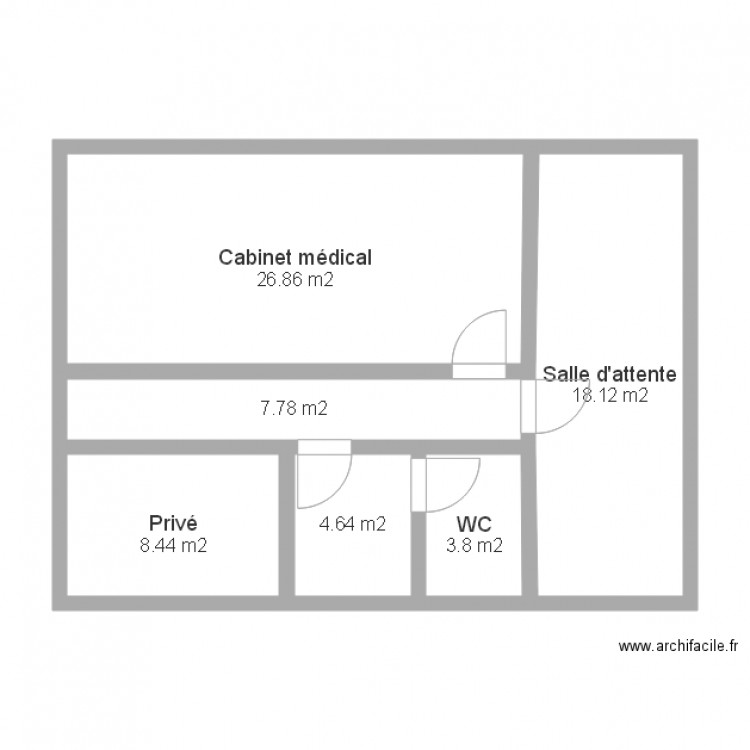 cabinet m dical type 2 plan 6 pi ces 70 m2 dessin par abevia. Black Bedroom Furniture Sets. Home Design Ideas