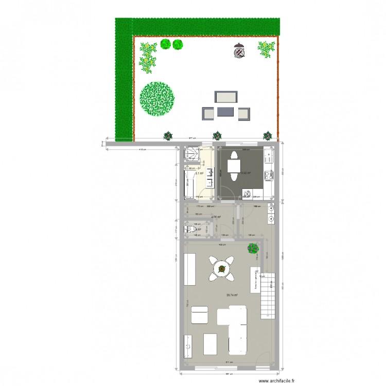 Maison ligny avec jardin interieur plan 5 pi ces 60 m2 dessin par pierrotlalune - Plan maison avec jardin interieur ...