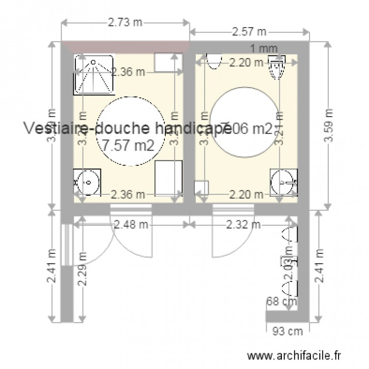 plan vestiaires sanitaires handicap 1 plan 2 pi ces 15 m2 dessin par rolland le lostec. Black Bedroom Furniture Sets. Home Design Ideas